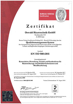 Certificate ISO 9001 / 2015